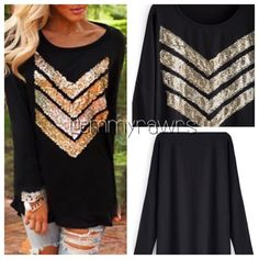 "Arriving this week- preorder for $33 Gorgeous round neck sequin black top! Material: Polyester. Have a lot of give. Great for the holidays! Rough measurements: ** SMALL- length 23"", bust 37"" ** MEDIUM - ** LARGE - buy now to save money. Will ship out once it arrives Sweaters"