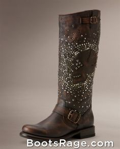 Jenna Skull Stud Tall Cowboy Boot - Women Boots And Booties