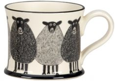 Country Sheep Mug ~ Original Scraffito Mug by Jonathan Plant.  Offered by Moorland Pottery.