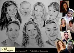 Dessin de famille au crayon, portrait réaliste d'aprés photos. Pour commander c'est ici. www.samos17.fr Retrouvez moi sur facebook samos17
