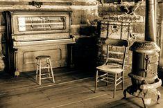 Vintage Piano Photo, Rustic Cabin Photography, Colorado Wall Art, Gritty Wood Stove, Piano Player, #Sepia Photo, #LogCabin, Cabin Decor #rustic