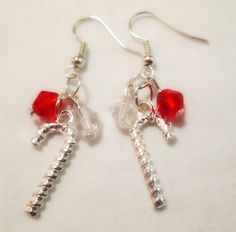 Earrings  Christmas Theme  Handmade  Glass Beads by CraftyChic90, $4.25