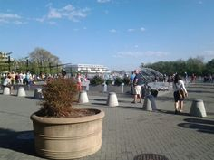 With The Kennedy Center as a backdrop,  kids frolic in the cool waterpark along the Potomac River.