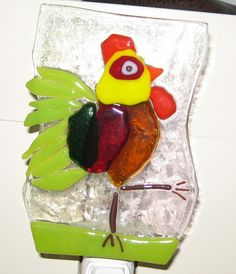 Rooster nightlight, fused glass. By Lorraine Capps