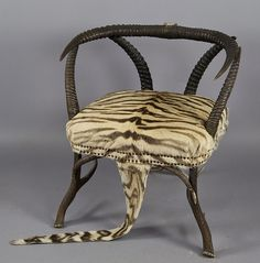 zebra skin horn chair, ca. 1890