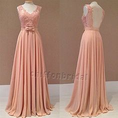 A line blush lace prom dress lace party dress woman formal evening dress pageant dress, floor length dress,chiffon bridesmaid dress on Etsy, $139.00