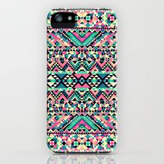 Pink Turquoise Girly Aztec Andes Tribal Pattern iPhone Case by Railton Road - $35.00