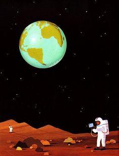 Nave Espacial Fantasía Tierra Planetas Estrellas Pegatina Calcomanía de impresión de arte de Pared Mural P3V