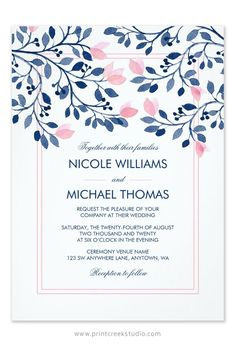 Navy and blush pink watercolor wedding invitations. A chic and modern design featuring whimsical floral vine and leaves. Beautiful for a garden wedding.