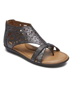 Black Pewter Jordan Leather Sandal