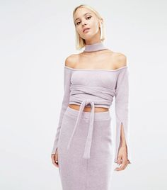 Lavish Alice knitted high neck top with scarf detail and matching midi skirt