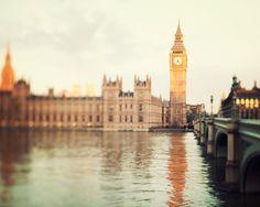 Good Morning London - London Photograph, Big Ben, Westminster, River Thames, Gold,  Clock Tower, Romantic Travel Photography. $30.00, via Etsy.