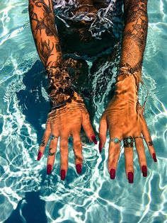 Dope nails of the day ;)  Sick tattoos too! Anyone else ready for summer like I am?