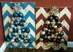 Christmas pallet crafts - hot glue shatterproof ornaments onto chevron painted pallets.