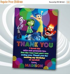 ON SALE 30% Inside Out Thank You Card  Inside by ticketparty