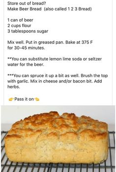 How To Make Bread, Food To Make, Quick Bread, Bread Recipes, Cooking Recipes, Easy Recipes, Healthy Recipes, Biscuit Bread, Beer Bread