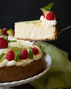 "Key Lime Cheesecake: This ""perfectly tart, perfectly sweet, perfectly tangy, perfectly creamy, perfectly luscious"" cheesecake is a key lime lover's dream."