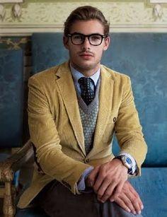 Mustard Yellow Corduroy Blazer, Fair Isle Sweater, Bow Tie, and Nerd Glasses. Men's Fall Winter Preppy Fashion.