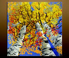 Original Large Birch Forest Painting Landscape on Canvas 30 x 30 Thick Impasto Paint by Andrzej Smykot by AndyArtGallery on Etsy