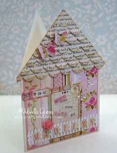 DIY for scalloped roof pink house card ... http://www.ablogcalledwanda.com/a-blog-called-wanda/2011/09/welcome-baby-card-.html