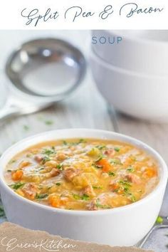 This soup is so good your family will be asking for it on a regular basis. Quick and easy and tasty too. #yellowsplitpeaandbaconsoup #errenskitchen Pea And Ham Soup, Bacon Soup, Whats For Lunch, Lunch Recipes, Cheeseburger Chowder, Foodies, Curry, Tasty, Ethnic Recipes