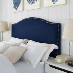 Modern Arch Upholstered Padded Navy Blue Linen Fabric Queen Headboard with Metal Nailheads