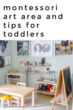 A look at our art area in our Montessori home and some tips on how to balance the space for toddlers and older children including preschoolers. Play Spaces, Learning Spaces, Kid Spaces, Child Art, Art Area, Oldest Child, Space Place, Montessori, Art For Kids