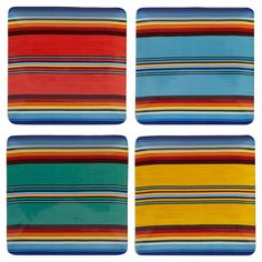 Certified International Pinata Nancy Green Square Ceramic Dinner Plates 10.5'' Blue Striped - Set of 4