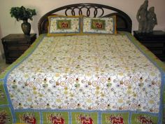 3p India Cotton Bedspread Olive Yellow Red Floral Elephant Print Queen Indian Bedding Throw by Mogul Interior, http://www.amazon.com/gp/product/B0098XW7VU/ref=cm_sw_r_pi_alp_M4uuqb1P2WCNK