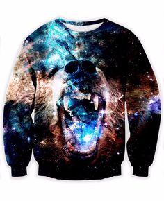 baddest Bear in Space Sweatshirt galactic gamma rays galaxy Jumper Women Men Fashion Clothing Tops Outfits Sweats Hoodies