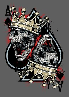 Ace of spades crowned skulls Totenkopf Tattoos, Tattoo Homme, Skull Design, Skull Tattoos, King Tattoos, Grim Reaper, Skull And Bones, Tatoo, Skull Art