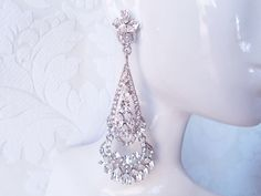 "3.5"" Long Victorian Glamour Chandelier Bridal Earrings Pave Swarovski Crystal Wedding Jewelry Vintage Bride 1920s Art Deco Prom by dalfiya on Etsy"
