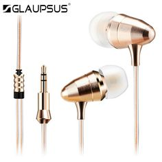 GLAUPSUS G02 Golden bullet Monitoring Earphones Super Bass Stereo In-Ear Earphone Metal Earbuds With Mic For iPhone Phone