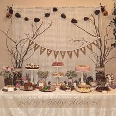 pink blue woodland baby shower decorations - Google Search:
