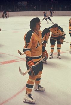 ed173ae67 California Golden Seals Reggie Leach warms up wearing the white skates the  team wore at the time.