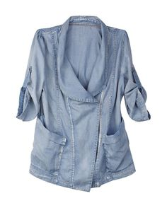 Light Blue Denim Blouse with Cropped Length Sleeves