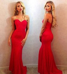 Red Sweetheart Prom Dresses, Simple Mermaid Prom Dress with Sweep Train, Silk-like Satin Evening Dress,Fishtail dreaa,