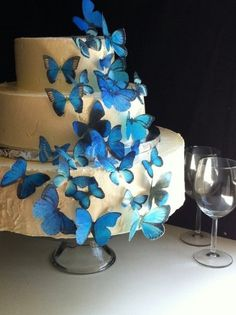 Amazon.com: Edible Butterflies © - Assorted Set of 30 Blue- Cake Decorations, Cupcake Topper: Everything Else