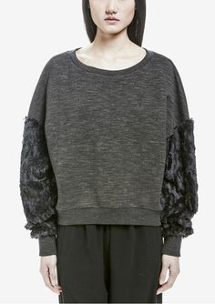af3af4f4fb Cotton Crew neck sweater with faux fur sleeves