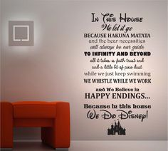 IN THIS HOUSE WE DO DISNEY 2 WALL STICKER - DISNEY QUOTES - CHILDREN S TRANSFER
