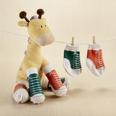 """Herbie in Hightops"" Plush Giraffe and 2 Pair of Socks for Baby 