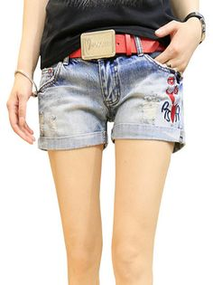 Fashion Shose Printed Wornout Pockets Women Short on buytrends.com