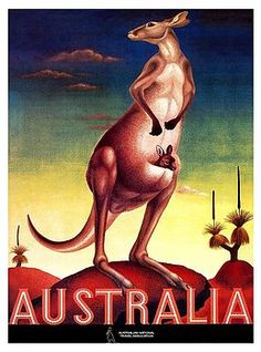 Vintage 1956 travel poster issued by Australian Tourism Association depicting an iconic kangaroo carrying a joey in the outback. australia,outback,kangaroo,aussie,uluru,tourism,antique,poster,travel,marsupial,ephemera,retro,vintage,
