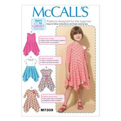 McCall's 7309 Sewing Pattern - Childs/Girls Handkerchief-Hem Dresses (Ages 2-8)