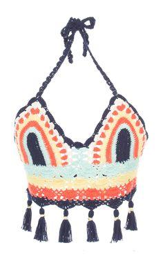 This **Celia B** Sage Crochet Top features a halter neck design and tasseled hem detailing. Crochet Summer Tops, Crochet Bikini Top, Crochet Top, Diy Festival, Festival Fashion, Blusas Top, B Fashion, Beach Attire, Bikini Tops