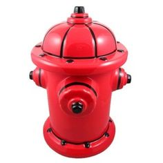 Red Fire Hydrant Dog Treat Jar - Ceramic Fire Plug Dog Treat Jar