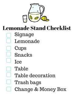 Lemonade Stand Checklist - plan the perfect lemonade stand with your kids. MomTrends