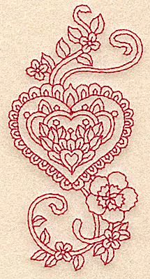 Heart and flowers redwork C 1.96w X 3.88h