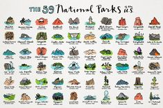 Ad: US National Parks Icon Illustrations by Lemonade Pixel on This beautiful pack includes all 61 US National Park icon illustrations! Each one is hand drawn, hi-res and detailed. Perfect for making Places To Travel, Places To See, Travel Stuff, Travel Destinations, Camping Clipart, Indiana Dunes, Gateway Arch, Park Art, Yellowstone National Park