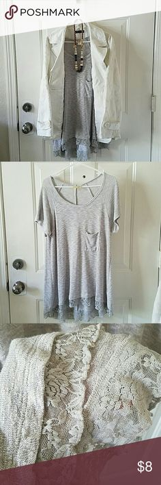 Grey Knit Hi Low Top XL Grey knit top with lace trim. Hi Lo style chenault Tops Blouses
